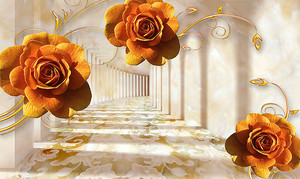 Рыжие цветы на фоне мраморного тоннеля