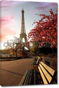 Знаменитая Эйфелева башня с дерева весной, Париж, Франция