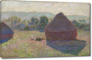 Моне Клод. Стога сена в солнечном свете, в полдень, 1890
