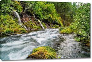 Водопады в тихом лесу