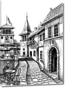 старый мирный город рисунок, эскиз Ресторан Терраса