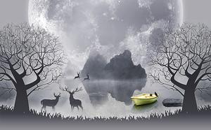 Футуристический пейзаж с оленями