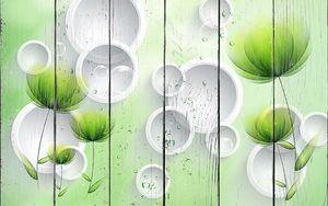 Зеленые цветы с кругами