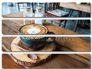 Симпатичные горячего Латте кофе в ресторане