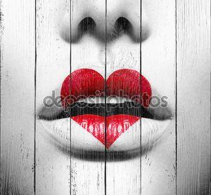 Краска красота сексуальные губы с формы сердца