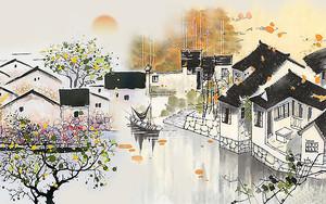 Китайская деревушка акварелью