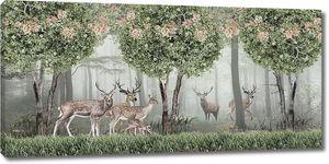 Олени в цветущем лесу
