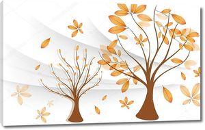 Волны, осенние деревья, листья