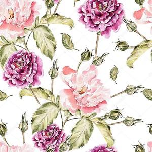 Акварель картины с цветами, пионы и розы, бутоны и лепестки.