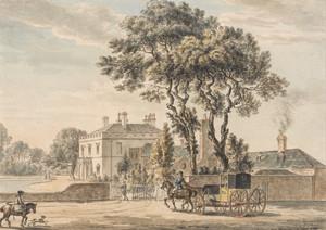 Вид с северо-востока на дом сэра Джона Эльвила на Энглфилд-Грин возле Эгама в Суррее, Пол Сэндби,