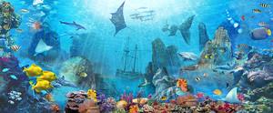 Подводный мир с затонувшим кораблем