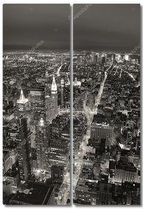 Нью-Йорк Манхэттен вид с высоты птичьего полета в сумерках