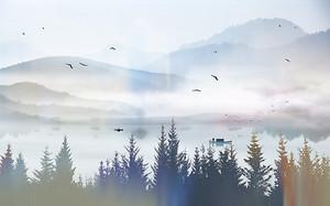 Туман на горном озере