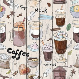 Seamless pattern with hand drawn elements of different types of coffee.