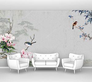 Птички на цветущих ветках, сопки