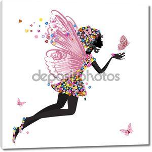 Цветочная фея с бабочкой