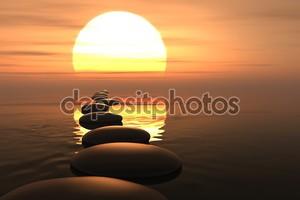Zen путь камней в закат