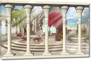 Терраса с высокими колоннами