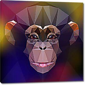 Голова шимпанзе геометрическими фигурами