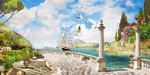 Набережная с видом на парусный корабль