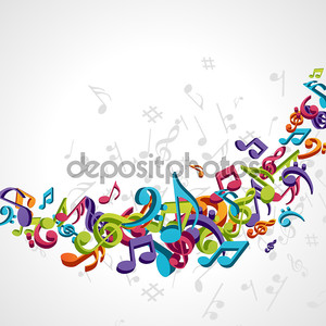 Красочные ноты Векторный фон