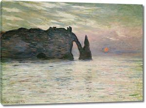 Моне Клод. Маннпорт, скалы в Этрета, Закат, 1883