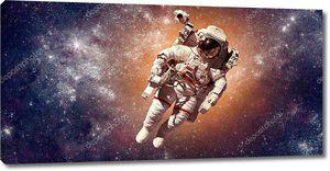 Астронавт в космосе на фоне планеты Земля