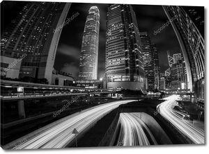 Hong Kong Сити и зданий черный и белый