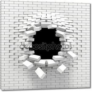 Уничтожение белый кирпичной стены