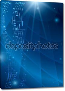 Абстрактный вертикальные музыки фон - синий вектор флаер