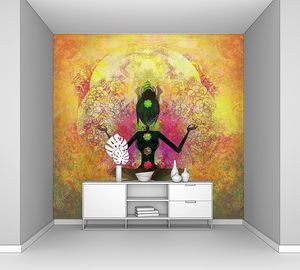 Йога поза лотоса, падмасана с цветными чакрами