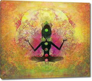Йога поза лотоса. Падмасана с цветными чакрах.