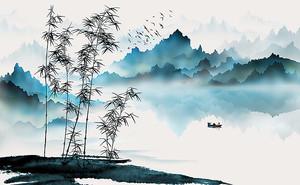 Бамбук на фоне синих гор