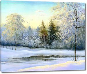 красивый зимний пейзаж, холст, масло.