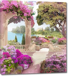 Сад с розовыми цветами