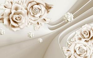 Белые цветы с абстрактными изгибами