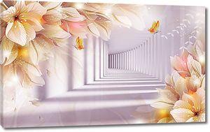 Уходящий тоннель и цветы
