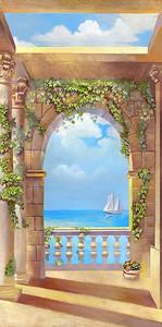 Вид из окна на море с корабликом
