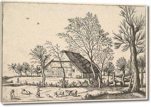 Брейгель. Гравюра. Вид с фермой, тремя коровами и дояркой (офорт)