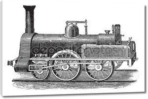Английский паровой локомотив, старинные гравюры