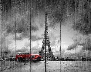 Башня effel и ретро автомобиль