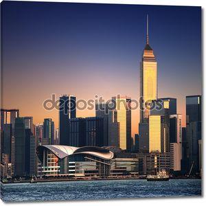 Красивые HongKong городской пейзаж на закате