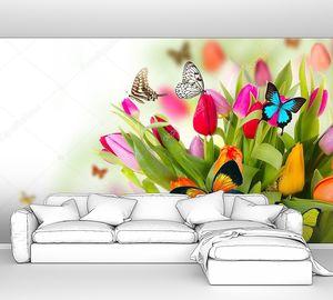 Цветные тюльпаны с бабочками