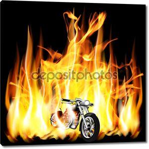 мотоцикл, Измельчитель на фоне огонь