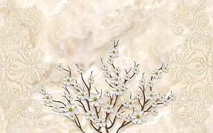 Мраморный фон, цветущая ветвь