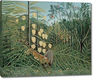 Руссо Анри. В тропическом лесу. Борьба между Тигром и быком