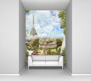Коллаж, Вид с балкона на Париж, водопад