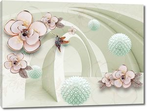 Арки, розовые позолоченные цветы, колибри