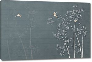 Силуэты бамбука на сером фоне