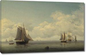 Чарльз Брукинг. Рыбацкие лодки в спокойном море